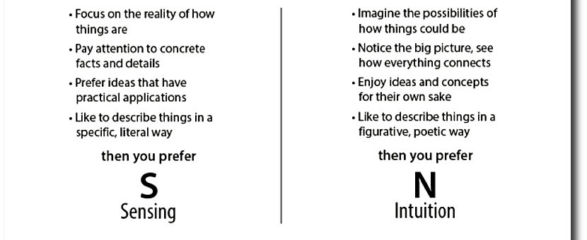 How do you prefer to take in information, through sensing or intuition?